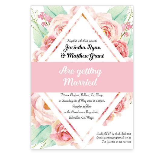 Summer rose wedding invitation sample