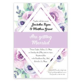 Lilac diamond wedding invitation sample