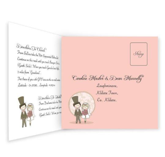 Quirky & Pink Tri-folding Wedding Invite & RSVP