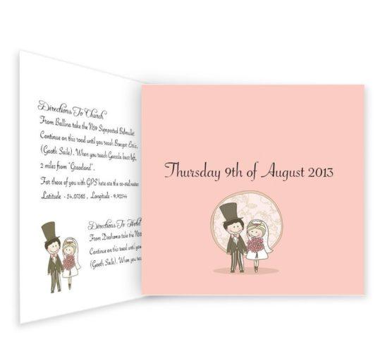 Quirky & Pink Tri-folding Wedding Invite