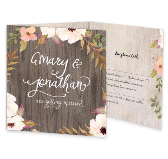 Rustic Horizon Tri-fold wedding invite & rsvp sample
