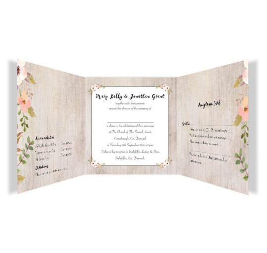 Rustic Horizon Tri-fold wedding invite & rsvp