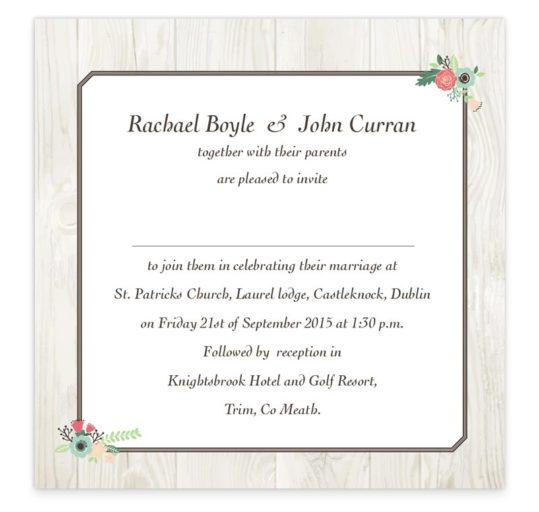Rustic Romance Flat Wedding Invitation