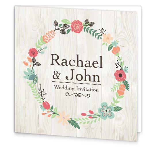 Rustic Romance Folding Wedding Invitation Sample