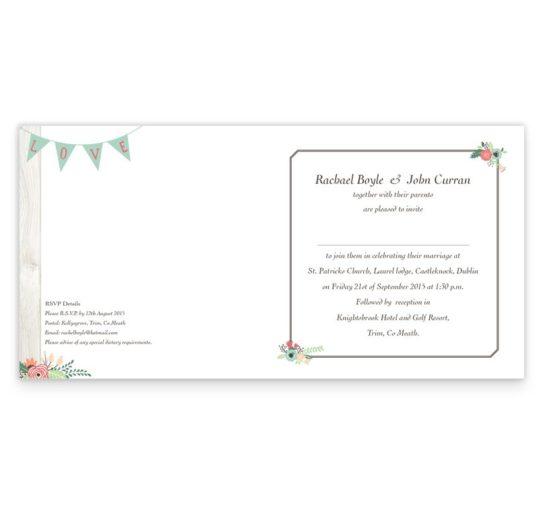 Rustic Romance Folding wedding invitation