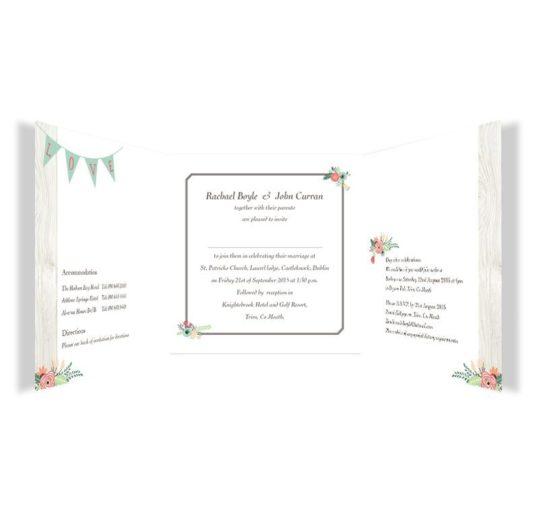 Rustic Romance Tri-fold Wedding Invitation
