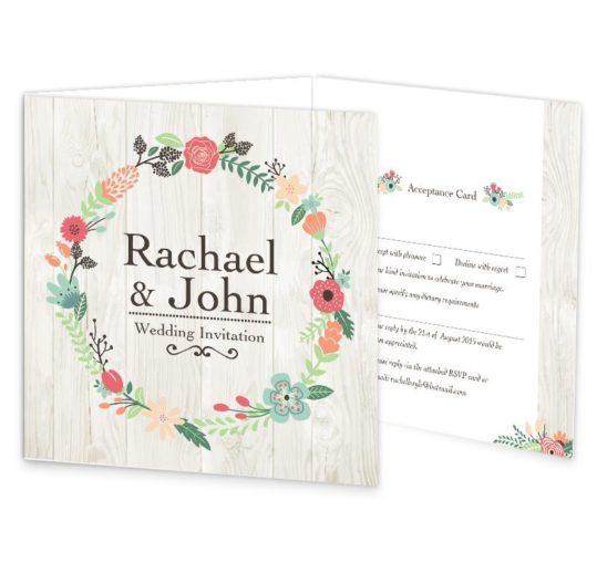 Rustic Romance Tri-fold Wedding Invitation & rsvp sample