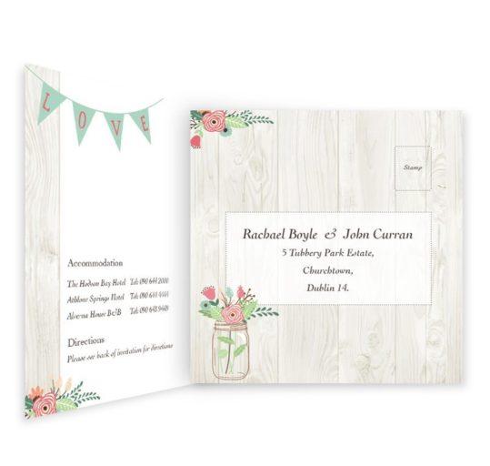 Rustic Romance Tri-fold Wedding Invitation & rsvp