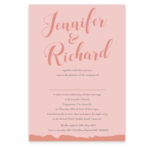 Script Foil Wedding Invite_Pink Sample