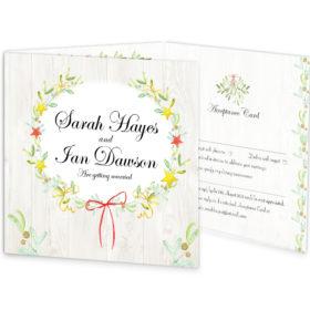 Shimmering Garland Tri-fold wedding invite & rsvp sample