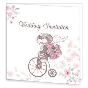 Smitten Couple Folding Wedding Invite Sample