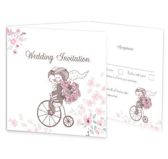 Smitten Couple Tri-fold Wedding Invite & RSVP
