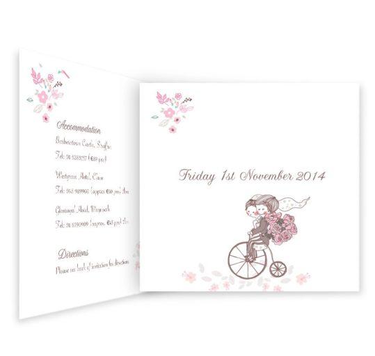 Smitten Couple Folding Tri-fold Wedding Invite