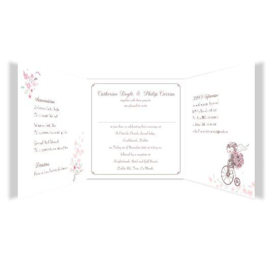 Smitten Couple Tri-fold Wedding Invite Sample