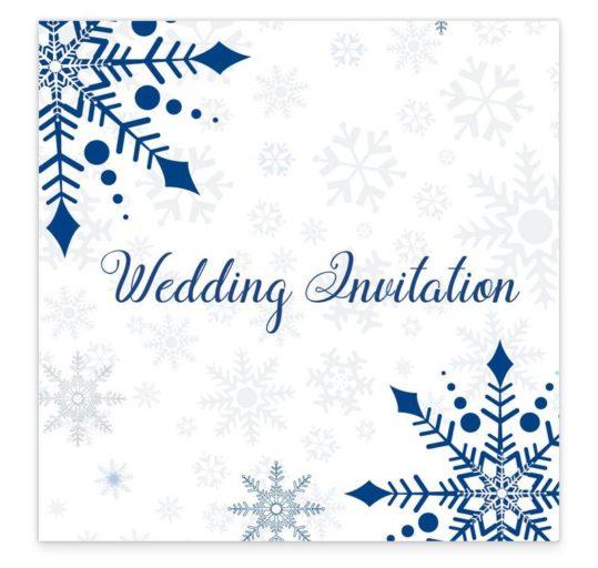 Snowflake Flat Wedding Invite Sample