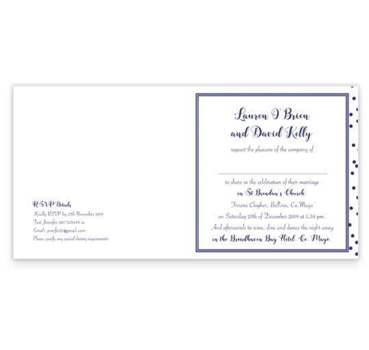 Silver Snow Folding Wedding Invitation_Navy
