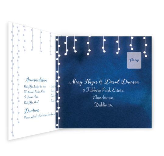 Starry night Tri-fold wedding invite & rsvp