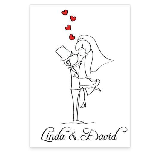Stick Couple Proposing Wedding Menus