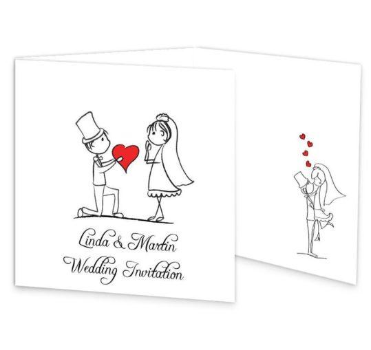Stick Couple Proposing Tri-folding Wedding Invite