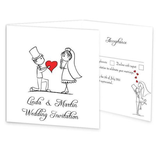 Stick Couple Proposing Tri-folding Wedding Invite & RSVP Sample