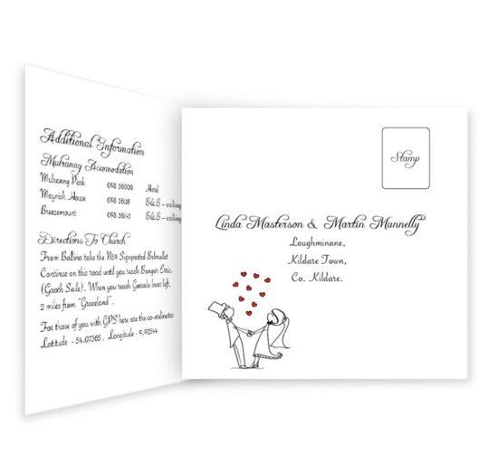 Stick Couple Proposing Tri-folding Wedding Invite & RSVP
