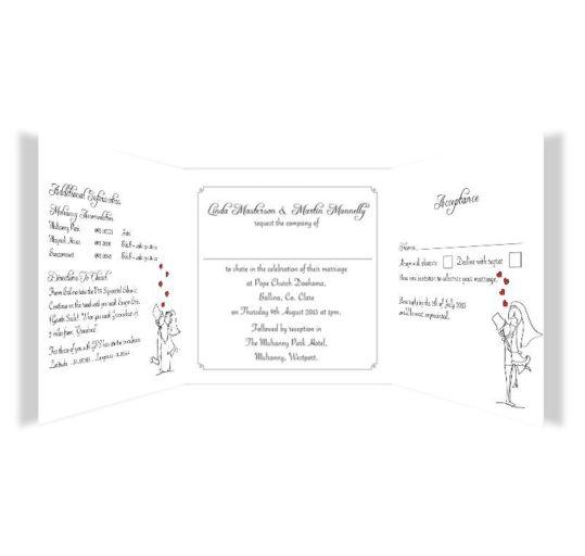 Stick couple in love Tri-fold wedding invite & rsvp Sample