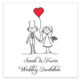 Stick couple in love Flat wedding Invite Sample