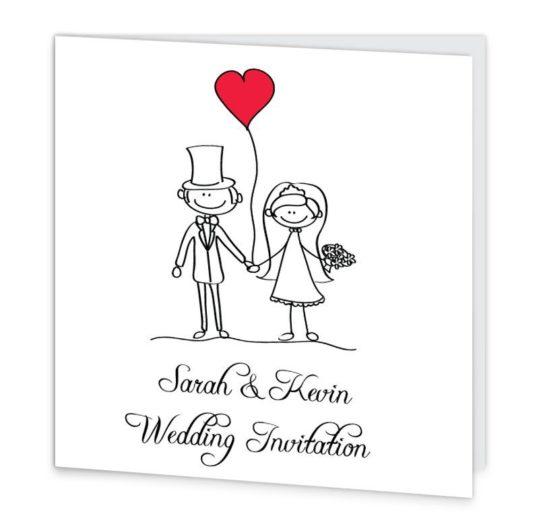 Stick couple in love Folding wedding invite Sample