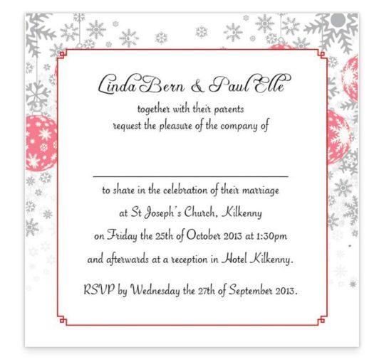 Christmas Stick couple Flat wedding Invite Sample