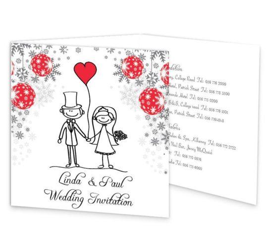 Christmas Stick couple Tri-fold wedding invite