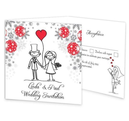 Christmas Stick couple Tri-fold wedding invite & rsvp Sample