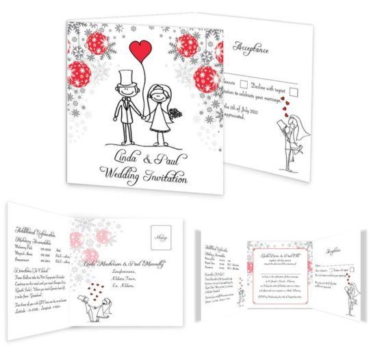 Christmas Stick couple Tri-fold wedding invite & rsvp