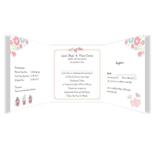 Sweetness & Light Tri-fold wedding invite & rsvp Sample