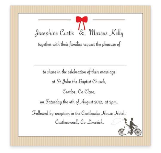 Tandem Couple Flat Wedding Invite Sample