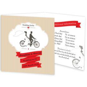 Tandem Couple Tri-fold Wedding Invite Sample