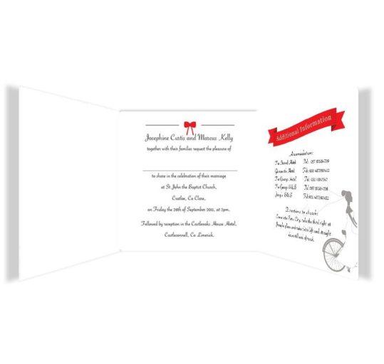 Tandem Couple Tri-fold Wedding Invite