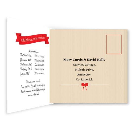 Tandem Couple Tri-fold Wedding Invite & RSVP Sample