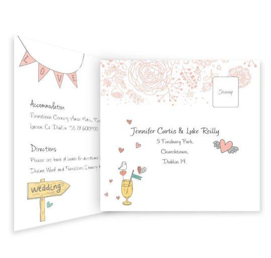Midsummer Dream Tri-fold wedding invite & rsvp