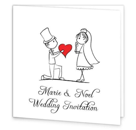 Stick Couple Proposing Folding Wedding Invite Sample