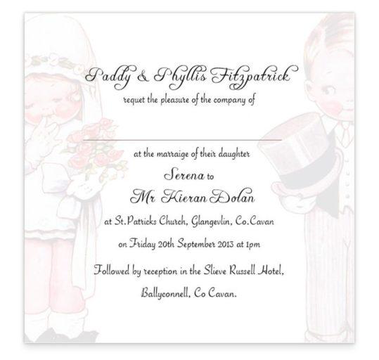 Wedded Children Flat Wedding Invitations Sample