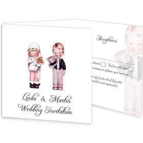 Wedded Children Tri-fold wedding invite & rsvp Sample
