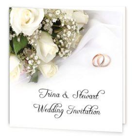 Wedding Bands and Flowers Folding Wedding Invite Sample