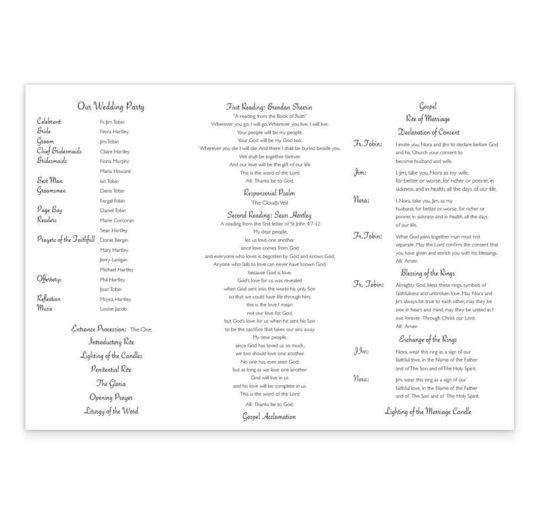 Wedding Bands & Flowers Wedding Ceremony Booklet