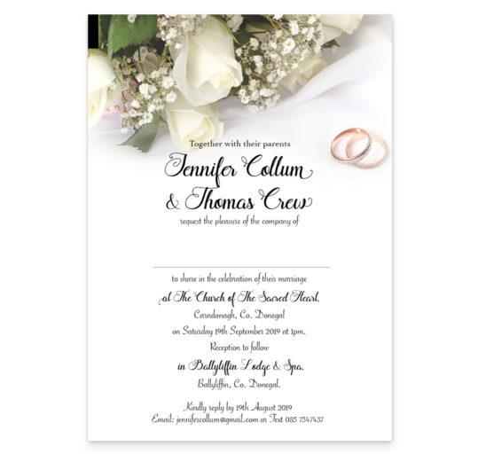 Wedding Rings and Flowers Rectangular Wedding Invite sample