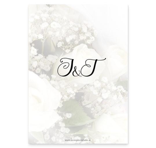 Wedding Rings and Flowers Rectangular Wedding Invite