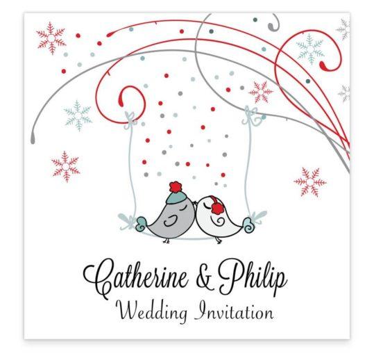 Winter Romance Flat Wedding Invitation Sample