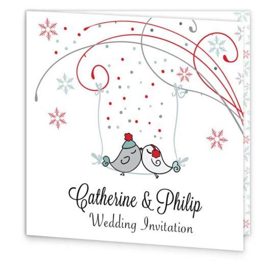 Winter Romance Folding Wedding Invitation