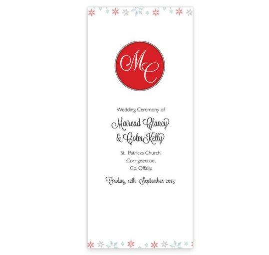 Winter Romance Wedding Ceremony Booklet
