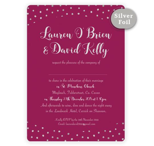 Silver Snow Wedding Invitation_Burgundy