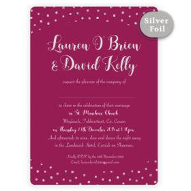 Silver Snow Wedding Invitation_Burgundy sample